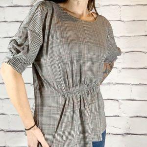 {Ann Taylor} gathered front plaid print blouse